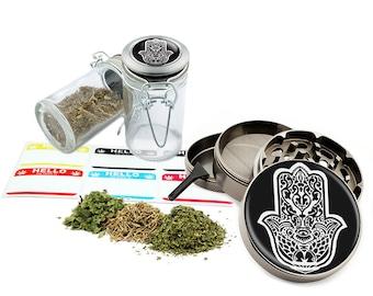 "Hamsa - 2.5"" Zinc Alloy Grinder & 75ml Locking Top Glass Jar Combo Gift Set Item # G123114-0011"