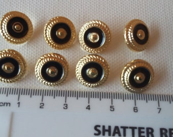 Lot of 8 Vintage Buttons -  gold tone with black inlay