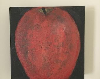 Original Acrylic on Canvas Painting  6x6 APPLE
