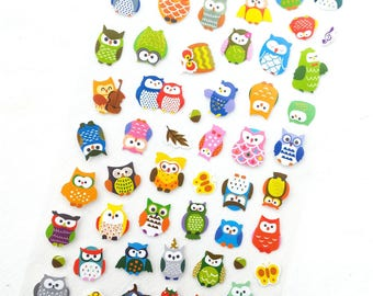 Kawaii owl stickers with gold foil details