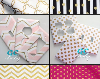 Gold Metallic Decorator Light Switch and Outlet Covers - 17 Prints in Chevron, Dot, Stripe, Circles, Floral - Rocker, Toggle, Duplex, Plug