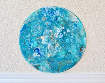 """Acrylic Pour Painting on 12"""" Vinyl Record Abstract Art Resin Coated"""
