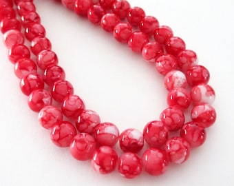 """Red White Marbled Porcelain Beads - Smooth Round Porcelain Beads - Drilled Stone Beads - 8mm - 13"""" Strand - Diy Summer Jewelry 2018 Beading"""