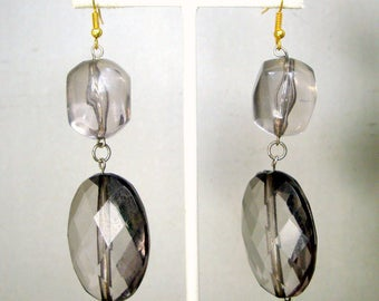Lucite Dangle Earrings, OOAK Smokey Quartz Color Big Beaded Dangles On Wire, Ecochic Recycled