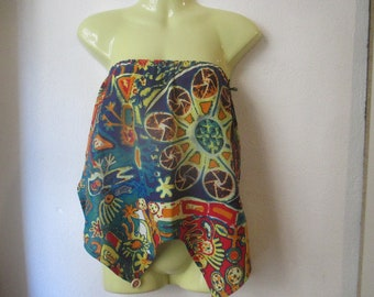 Multicolored Halter size XS/S linen and cotton