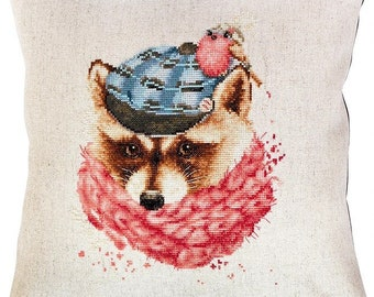 Pillow Racoon in the Hat SPB157 - Cross Stitch Kit by Luca-s