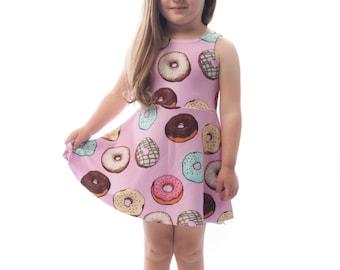 Donut Kids Dress, Printed Fun Bright Doughnut Baby Girls Dress