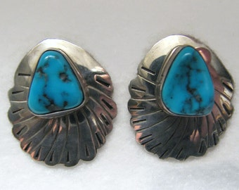 Vintage SOUTHWESTERN TURQUOISE and Sterling Silver Earrings -- Pierced/Posts