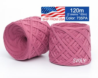 Dusty rose t-shirt yarn Soft cotton yarn Pink zpaghetti yarn Textile yarn Basket Trapillo Ribbon yarn Svoly yarn 260-735PA / 2*65.6 yards