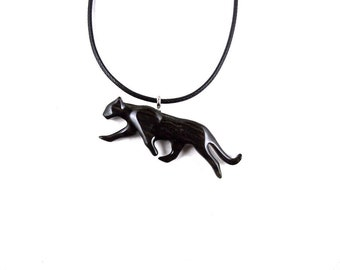 Panther Pendant, Panther Necklace, Jaguar Necklace, Panther Jewelry, Wooden Panther Pendant, Panther Totem Spirit Animal, Animal Jewelry