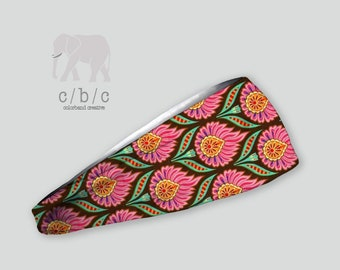 Printed Pink and Green Headband, Elephant Headband, Yoga Headband, Fitness Headband,Girls Headband, Adult Headband, Women's Headband