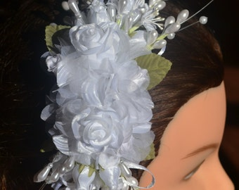 Wedding Hairpiece for bride - White flowers and hints of green - with comb - bride head piece accessory