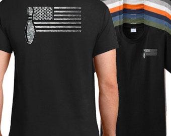 USA Bowler Flag T-Shirt, American bowling team shirt, bowling league shirt, bowlers shirt.