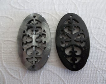 Black & Grey Filigree Oval - 40X23mm Connector or Pendant - Lacy Laser Cut - Two-Sided - Lucite from Germany - Qty 1