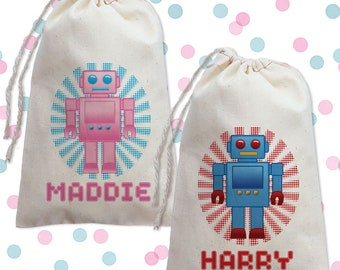Robot Party Favor Bags, Robot Birthday, Personalized Party Favor Bags, Robot Birthday Party, Robot Favors, Robot Kids Party Favors