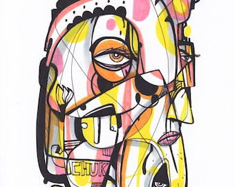 "Chuka - Original mixed media Illustration on Paper - 8"" x 10"""