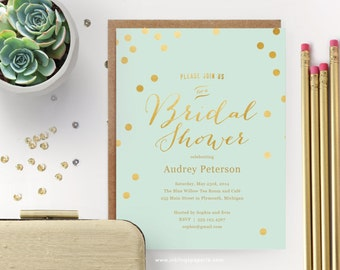 Printable Bridal Shower Invitation  // Mint with Gold Dots  // Wedding Shower Invitation, Mint and Gold // Editable Instant Download