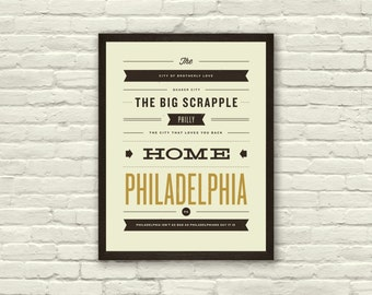 PHILADELPHIA, City Poster - 11 x14 Typography Art Print, Monikers and Mottos, Modern Poster, Retro Home, Nursery, Vintage, Mid Century