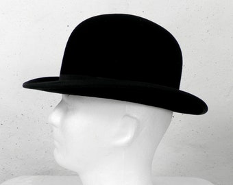 Vintage Rigid Black Felt Bowler Hat  by Falcon Hat Size 21.5 inches  Highest Quality 1950s Inner Leather Band and Lined Country Hunting City