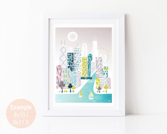 Chicago print art illustration poster skyline wall art cityscape posters prints home wall decor office nursery prints style sppc1