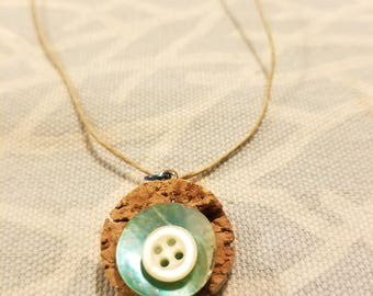 Sea Shell Button Cork Upcyled Necklace