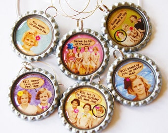 Funny Wine Charms, Humor, Wine Glass Charms, Wine Charms, Humor, retro prints, ladies night, Friends, best friends (1373)