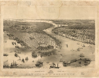 Manhattan New York City, Brooklyn, Battery Park, Governors Island, 1851. NY0008 Vintage Reproduction Historic Poster Print Map