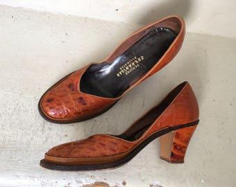 1930s 1940s Alligator Shoes Pumps De'Milo Shenanigans Cuban Heel Size 7 1/2