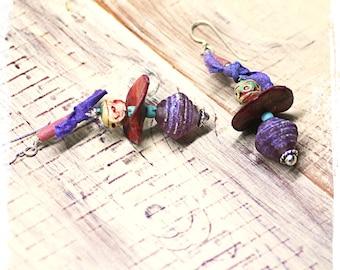 Boho dangle earrings, Rustic bohemian drop earrings, Artisan earrings, Mixed media assemblage earrings, Purple lampwork earrings,