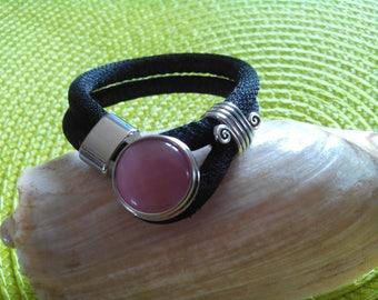 interchangeable snap button black lurex bracelet