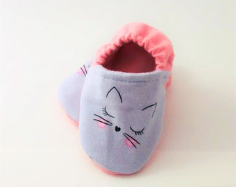 Cat Crib Shoes | Baby Girl Booties | Crib Shoes | Whiskers | Pink Shoes | Baby Shoes | Booties