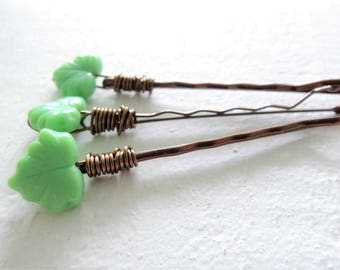 Pastel Jadite Green Leaf Hair Pins Wedding Hair Accessory Depression Glass Style Decorative Bobby Pins Mint Green Spring Leaves Gift for Her