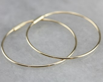 Yellow Gold Hoop Earrings, Thin Hoops, Medium Sized Hoops, Plain Hoops DAZJL9RU-C