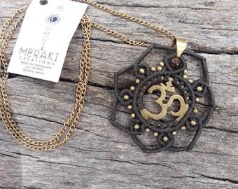 Macrame Brass Om Necklace with Tiger's Eye