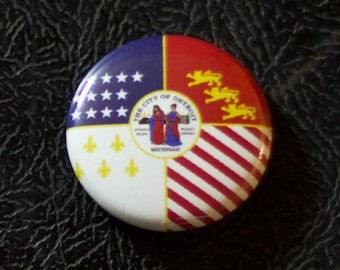 "1"" Detroit MI flag button - Michigan, city, pin, badge, pinback"