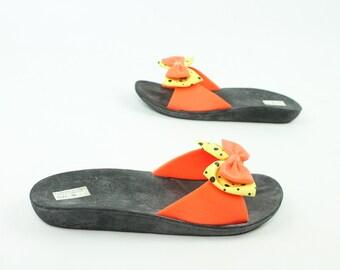 80s Rubber Sandals Florescent Bow Flip J Flops Womens Shoes Size S 5/6 Vintage 1980s Slip Ons