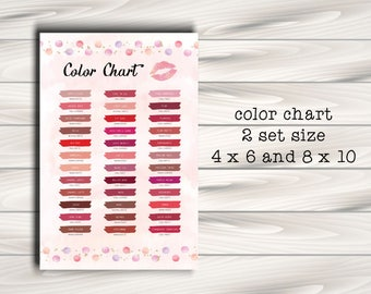 LipSense Color Chart, 36 LipSense Colors 2017, LipSense Senegence, Instant Download, Printable Digital File-polka dot and lips