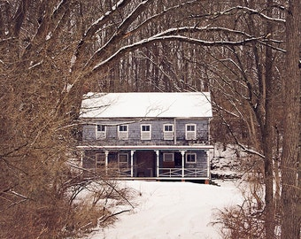 Blue Farmhouse Photograph, Landscape Photography, Rural Decay, Abandoned Farm, Dark Moody, Mysterious, Winter, Woodland, Rustic Photography