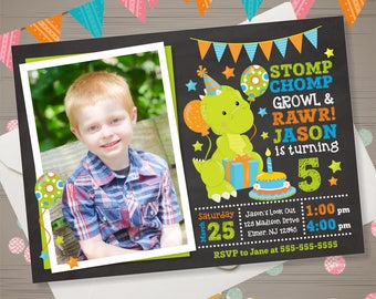 DINOSAUR Birthday Invitation with PHOTO Dinosaur Invitation Dino Invitation Dinosaur Party Dinosaur Invite Dino-mite Birthday Invitation