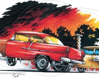 1955 Red Racing Gasser Car Mens T Shirt Brent Gill Design POS390