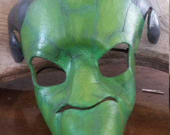 Leather Green Dragon Mask - Handmade Leather