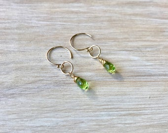 Green Peridot Wire Wrapped Handmade Gold Filled Earrings
