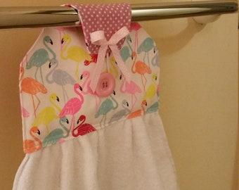 Kitchen/Bathroom hanging hand towel Flamingo polka dot prints NEW cotton fabric Kitchen tea gift idea