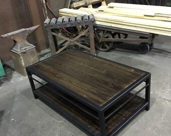 dark espresso stain custom steel frame coffee table.
