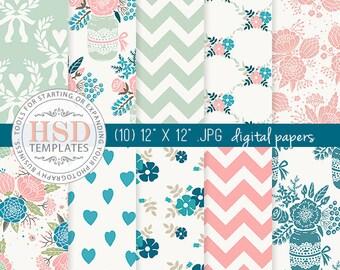 Pink Turquoise Shabby Chic Digital Paper - Floral Digital Scrapbook Paper - Digital Backgrounds - Chevron Digital Paper - Mason Jar DP132