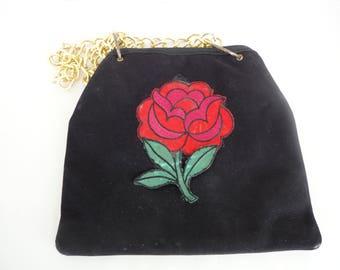 Black Purse With Appliquéd Flower
