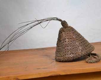 African Tribal Art,Lega-Hat-with-Buttons-Bwami-Society the region of sud/Kivu