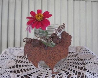 Pot issus de quoi que ce soit pot Tin Rusty coq et grelots Vase Candy porte maison en verre Decor rustique