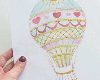 Heart Hot Air Balloon Art Print (Nursery Artwork - Colorful Hot Air Balloon Watercolor Print - Kids Decorations)