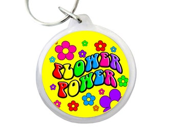 "FLOWER POWER Keyring 1.75""  Awesome ""Flower Power"" Hippie Keychain with Flowers"